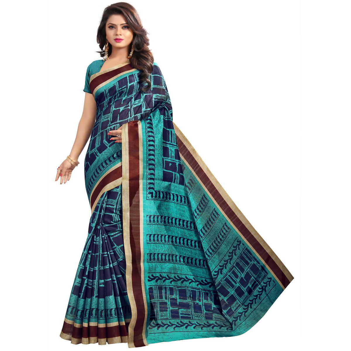 Pretty Navy Blue-Turquoise Colored Casual Printed Bhagalpuri Silk Saree