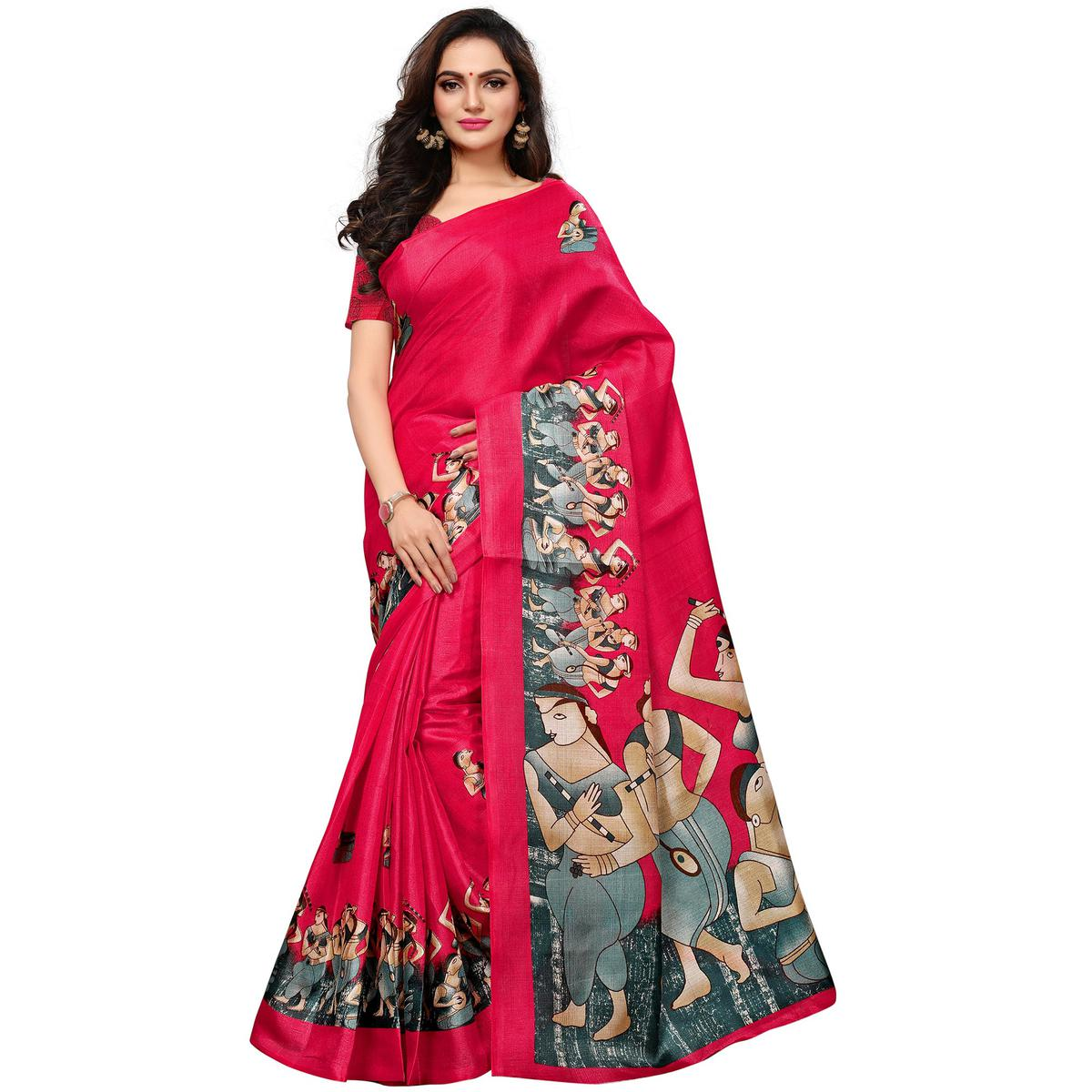 Engrossing Pink Colored Casual Printed Khadi Silk Saree