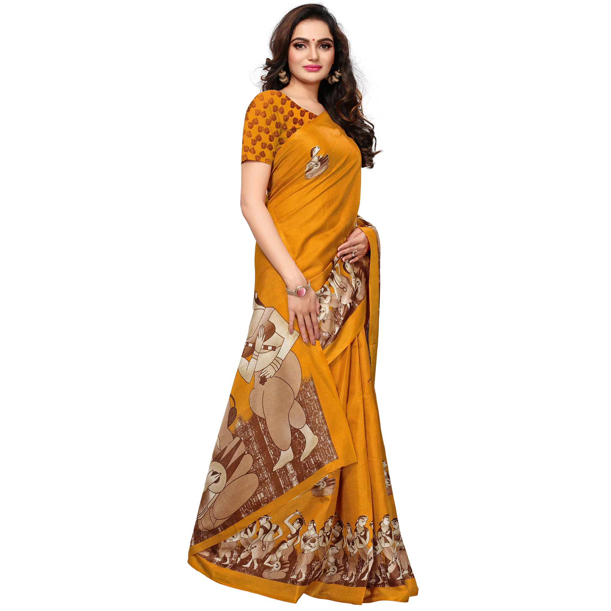 Fantastic Mustard Yellow Colored Casual Printed Khadi Silk Saree