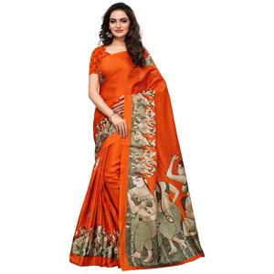 Staring Orange Colored Casual Printed Khadi Silk Saree