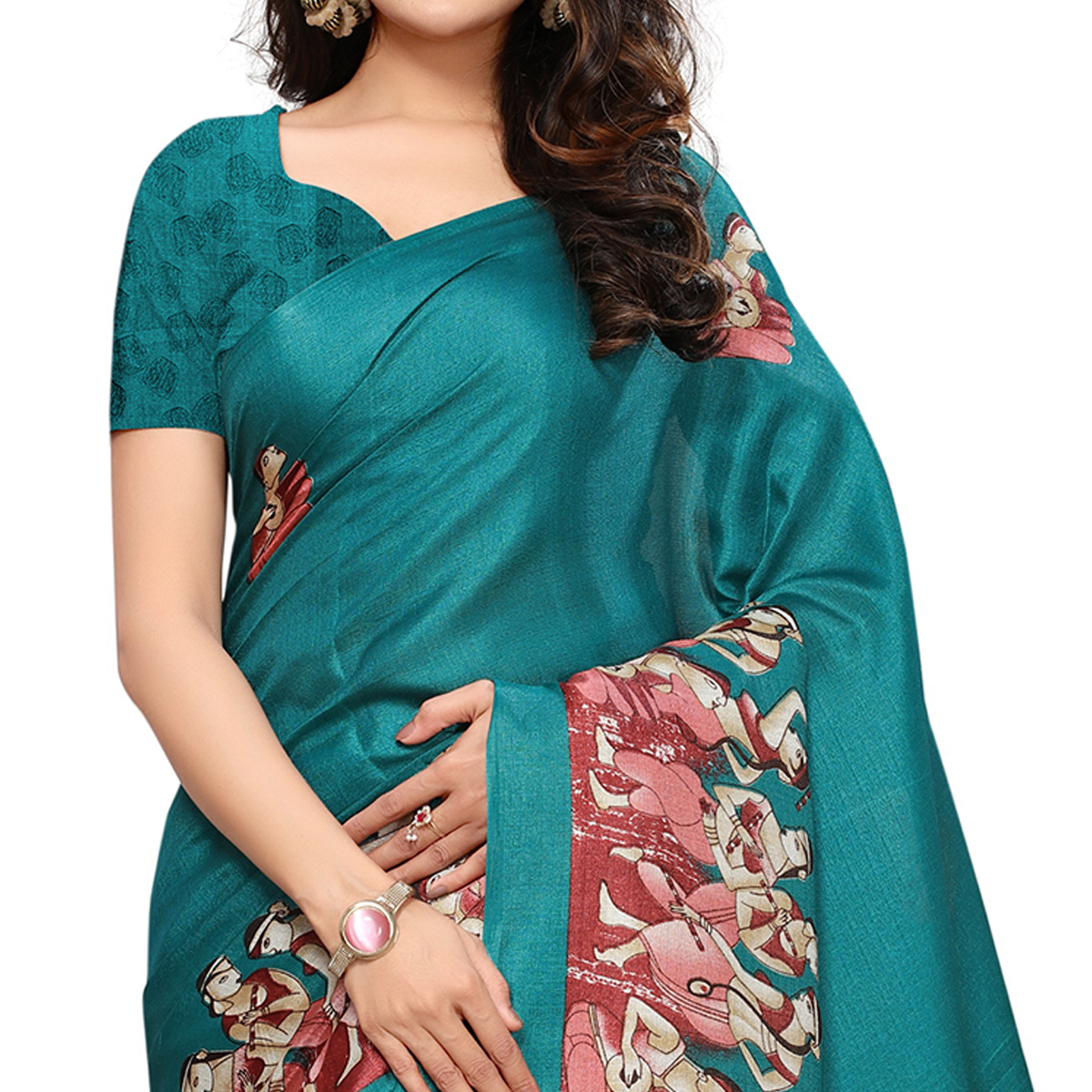 Blissful Turquoise Blue Colored Casual Printed Khadi Silk Saree