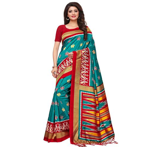 Demanding Turquoise Blue Colored Casual Printed Mysore Silk Saree