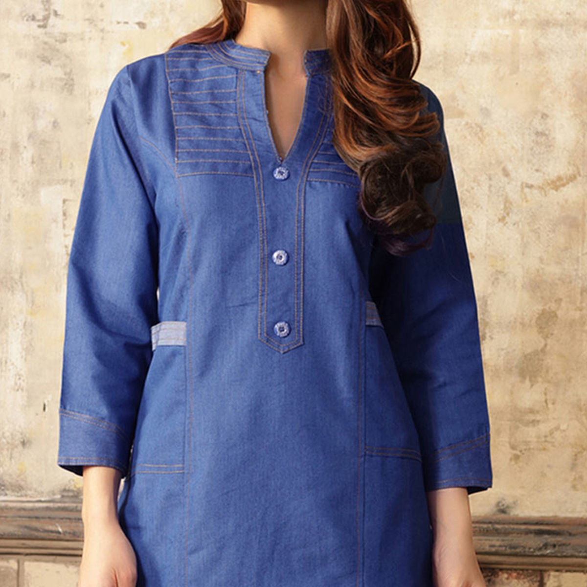 Smart Blue Denim Designer Kurti