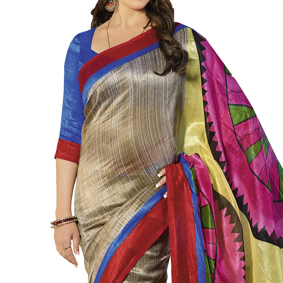 Multicolored Printed Silk Saree