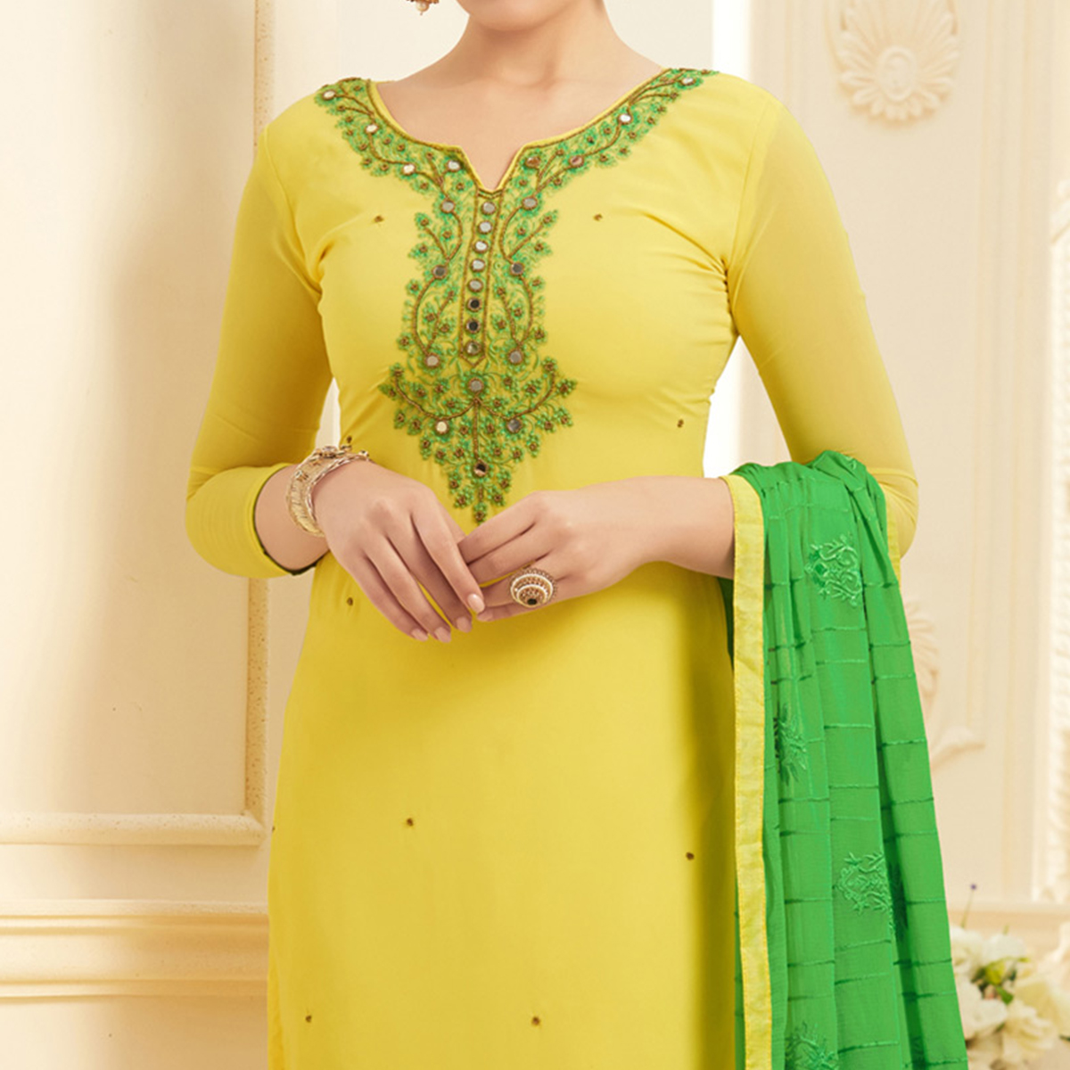 Lovely Yellow Georgette Embroidered Partywear Dress Material