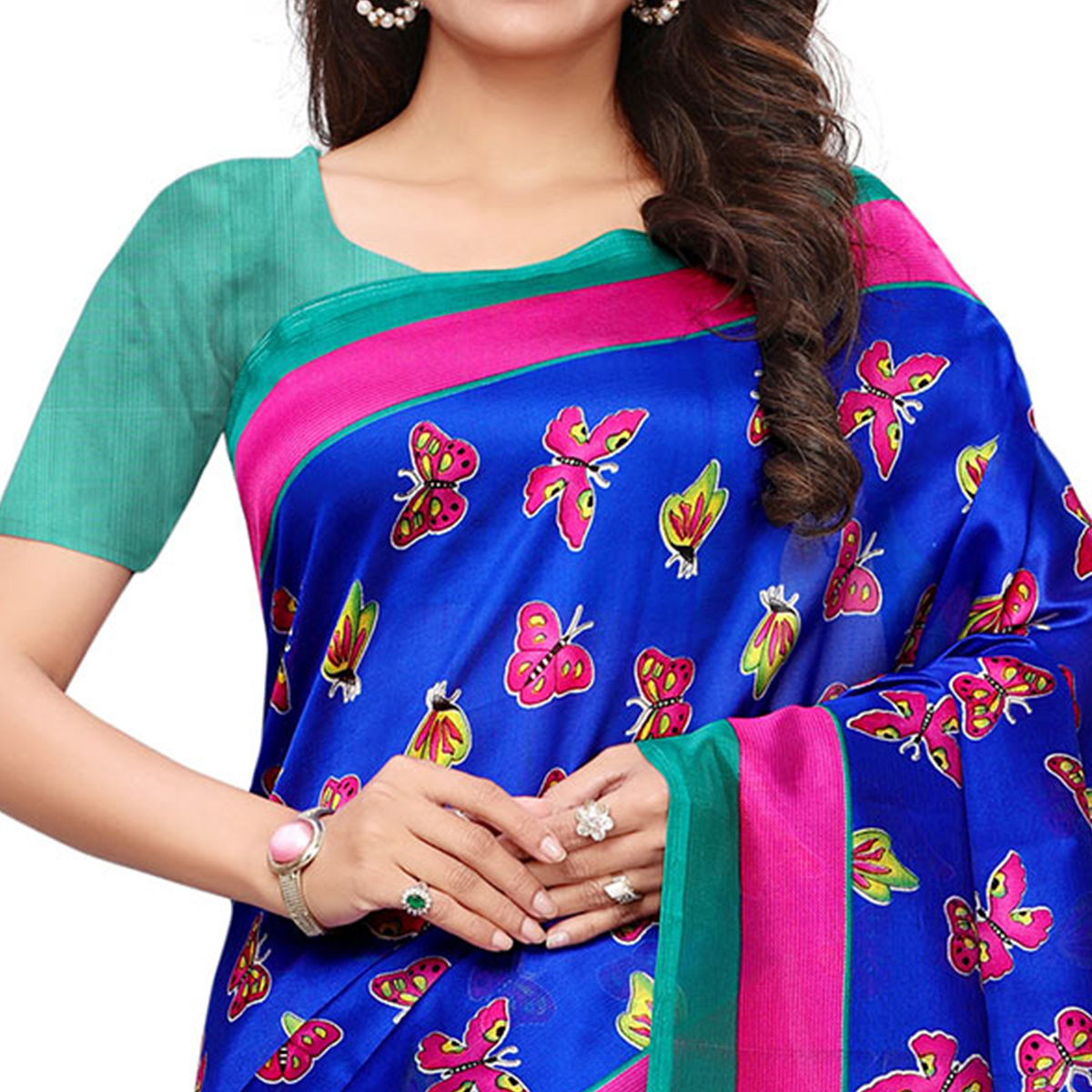 Refreshing Blue Colored Casual Printed Mysore Silk Saree