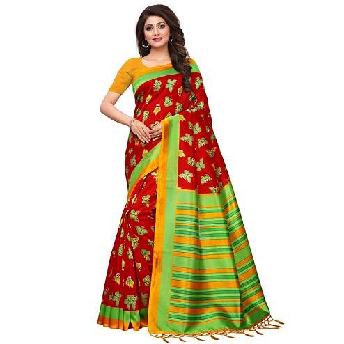 Elegant Red Colored Casual Printed Mysore Silk Saree