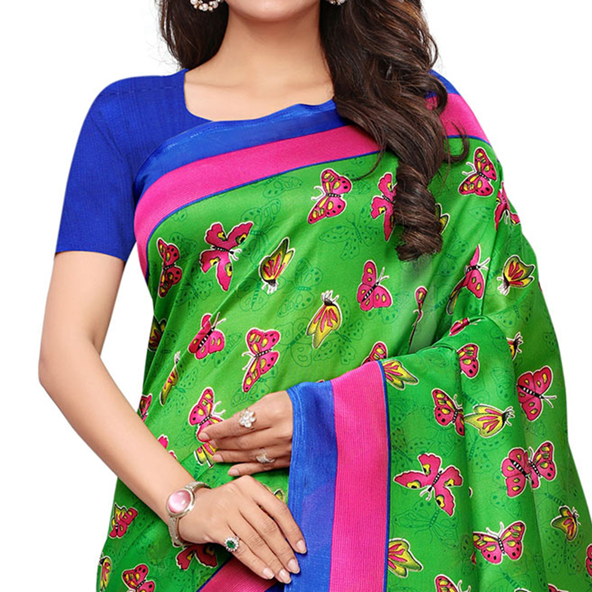 Alluring Green Colored Casual Printed Mysore Silk Saree