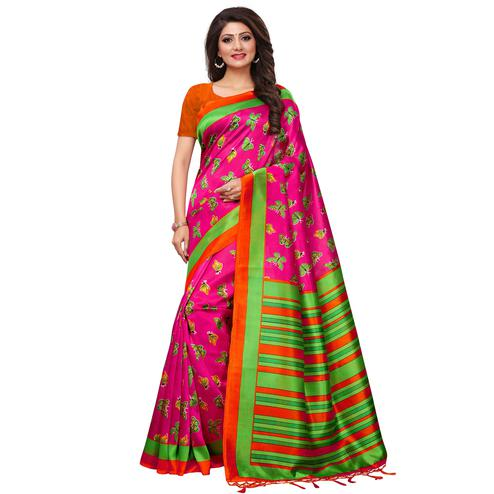 Radiant Pink Colored Casual Printed Mysore Silk Saree