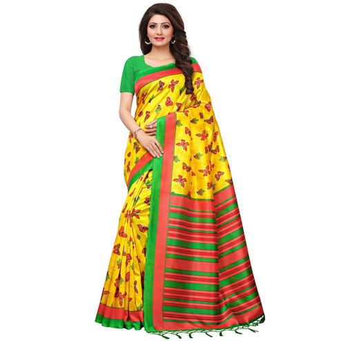 Sensational Yellow Colored Casual Printed Mysore Silk Saree