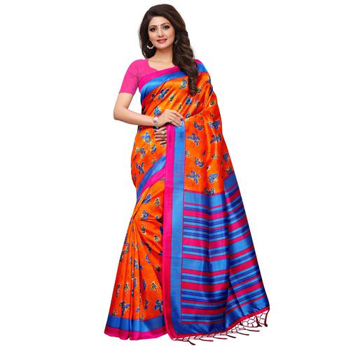 Opulent Orange Colored Casual Printed Mysore Silk Saree