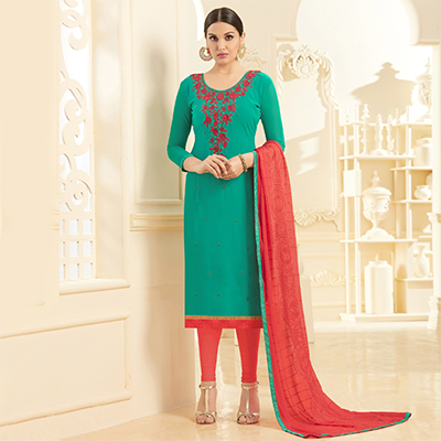 Beautiful Green Georgette Embroidered Partywear Dress Material