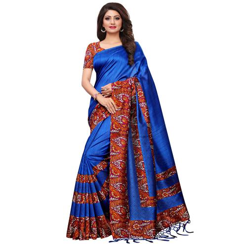 Dazzling Blue Colored Casual Printed Mysore Silk Saree