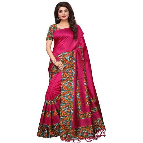 Breathtaking Pink Colored Casual Printed Mysore Silk Saree