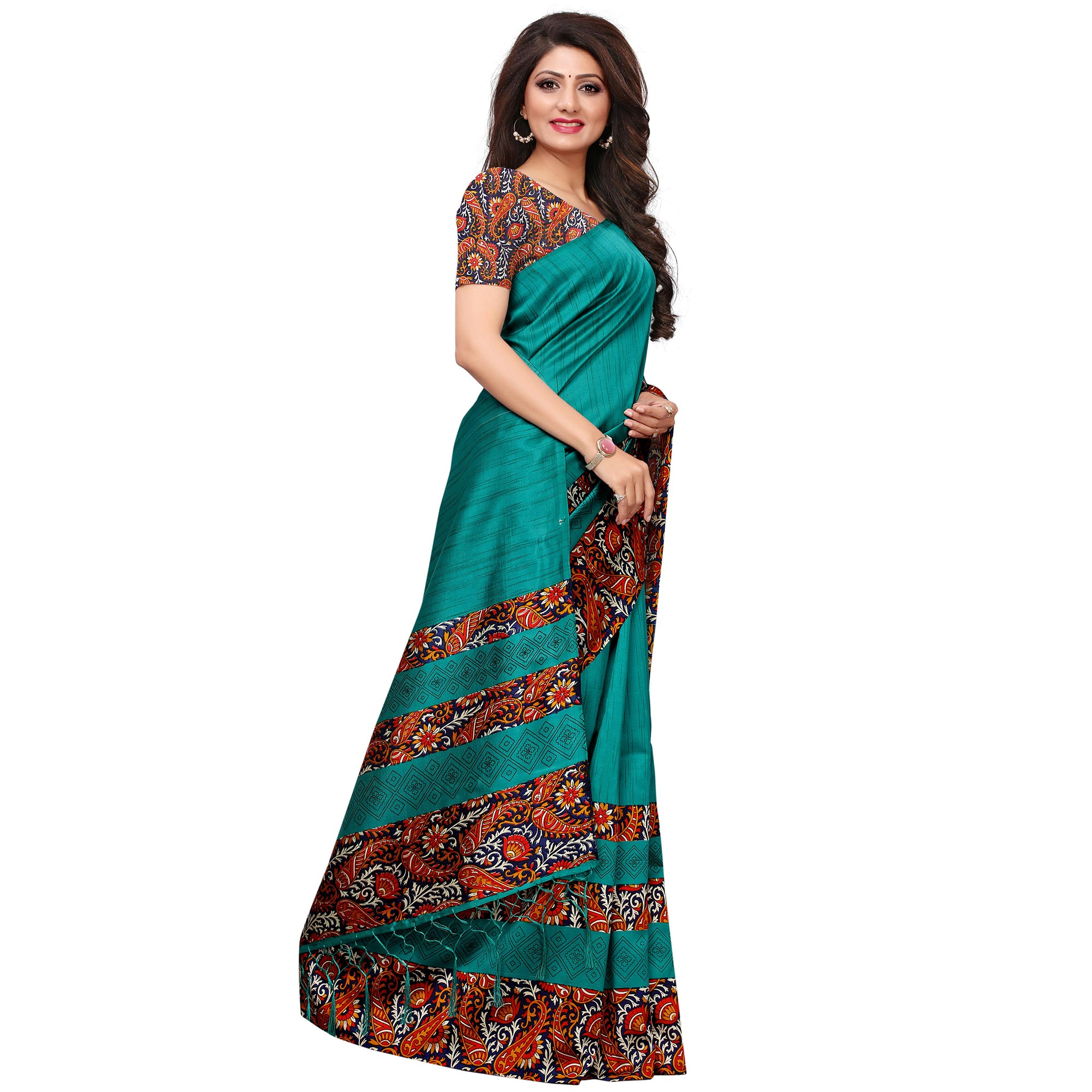 Impressive Turquoise Blue Colored Casual Printed Mysore Silk Saree