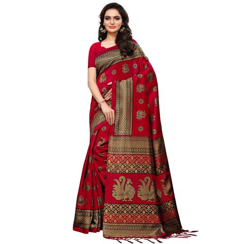 Excellent Deep Pink Colored Casual Printed Mysore Silk Saree