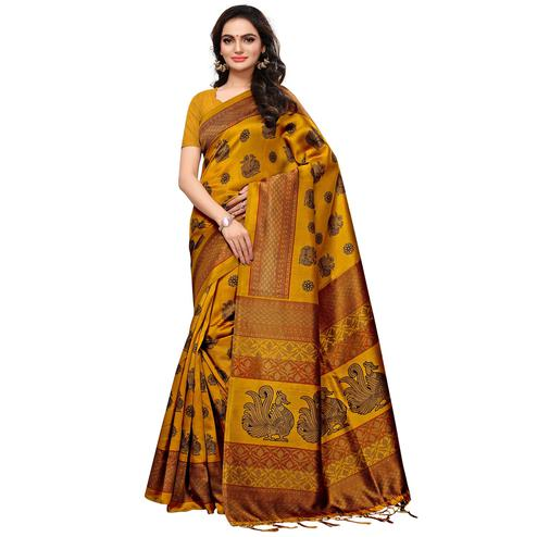 Ethnic Mustard Yellow Colored Casual Printed Mysore Silk Saree