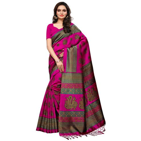 Starring Magenta Pink Colored Casual Printed Mysore Silk Saree