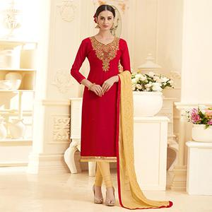 Lipstic Red Georgette Embroidered Partywear Dress Material