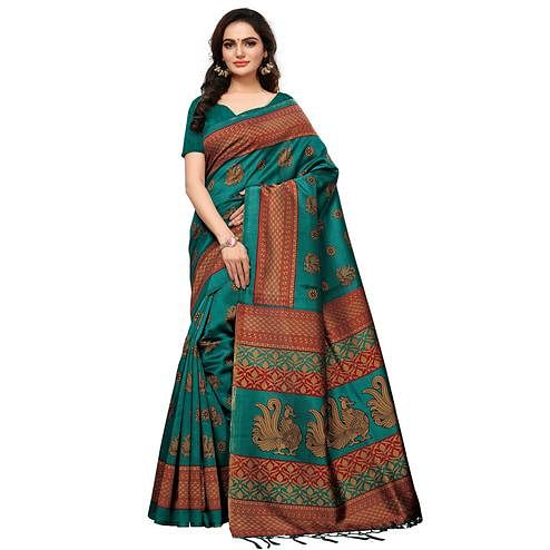 Surpassing Turquoise Blue Colored Casual Printed Mysore Silk Saree
