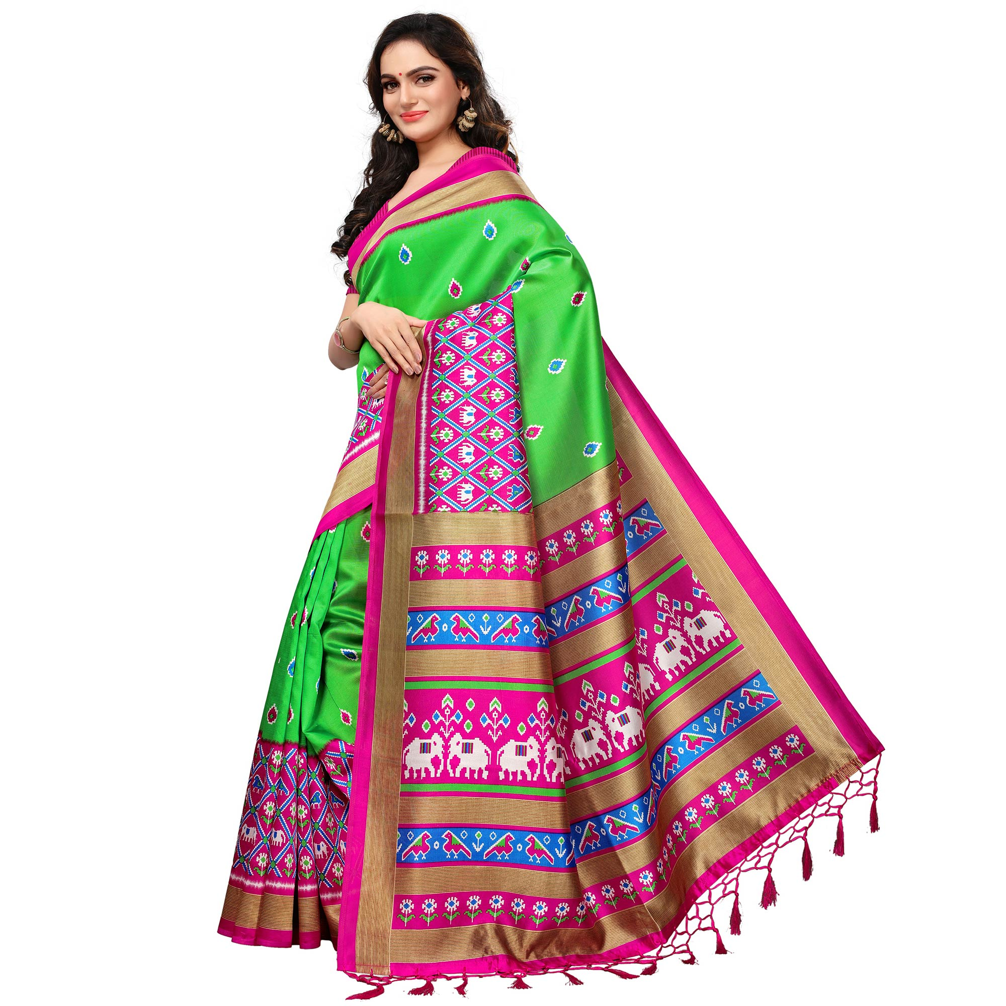 Entrancing Light Green Colored Casual Printed Mysore Silk Saree