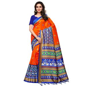 Intricate Orange Colored Casual Printed Mysore Silk Saree