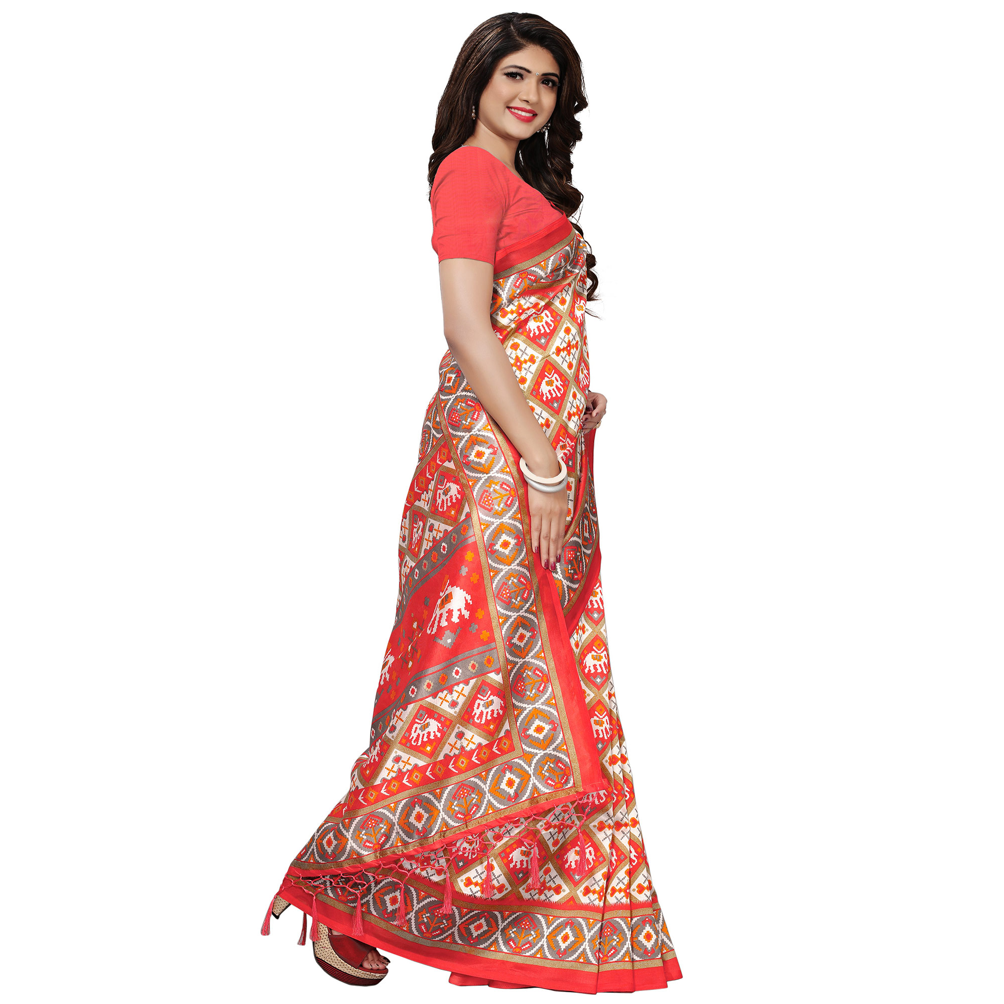 Sophisticated Pink Colored Casual Printed Mysore Silk Saree