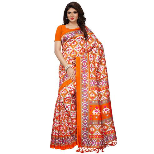 Jazzy Orange Colored Casual Printed Mysore Silk Saree
