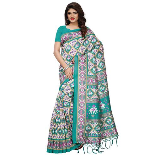 Appealing Turquoise Blue Colored Casual Printed Mysore Silk Saree