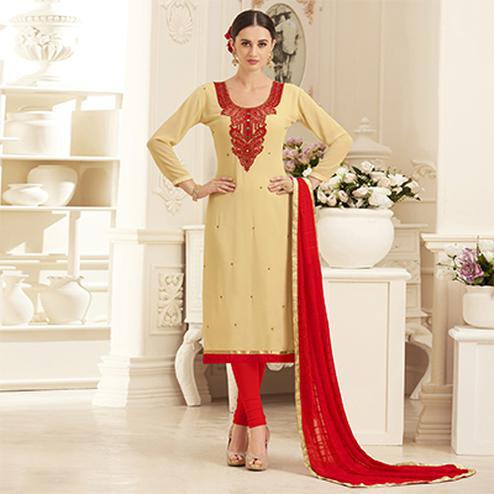 Classy Cream Georgette Embroidered Partywear Dress Material
