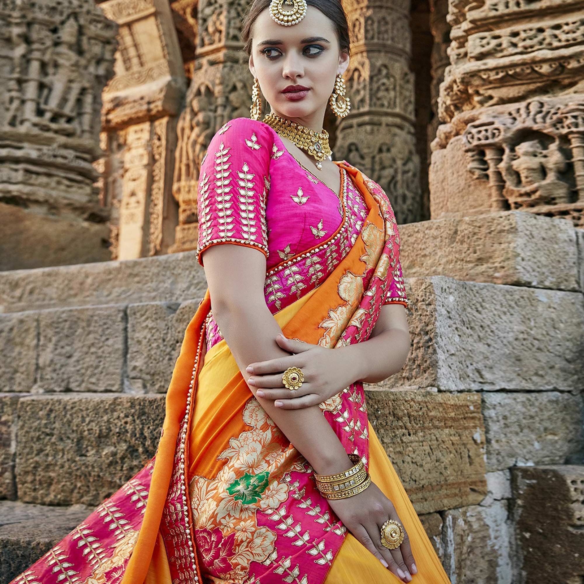 Eye-catching Yellow Colored Heavy Floral Embroidered Work Party Wear Silk Saree