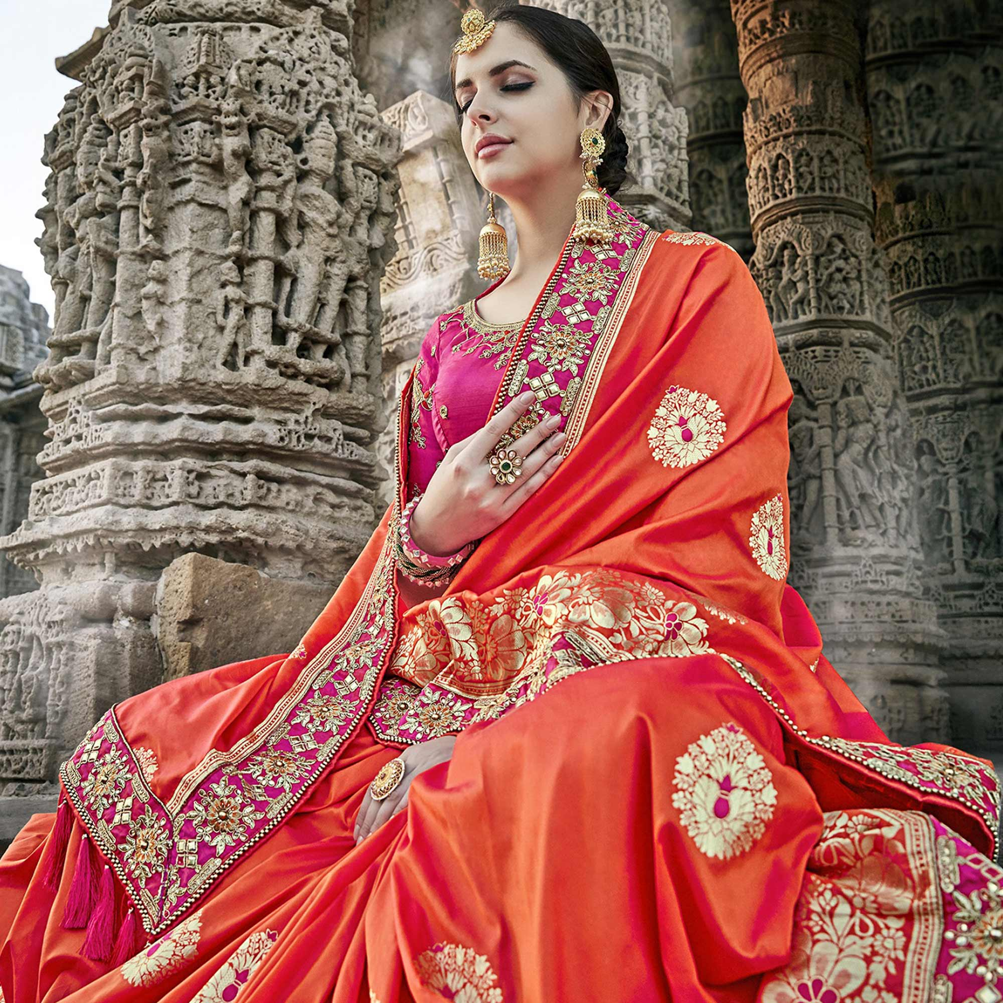 Stunning Red Colored Heavy Floral Embroidered Work Party Wear Silk Saree