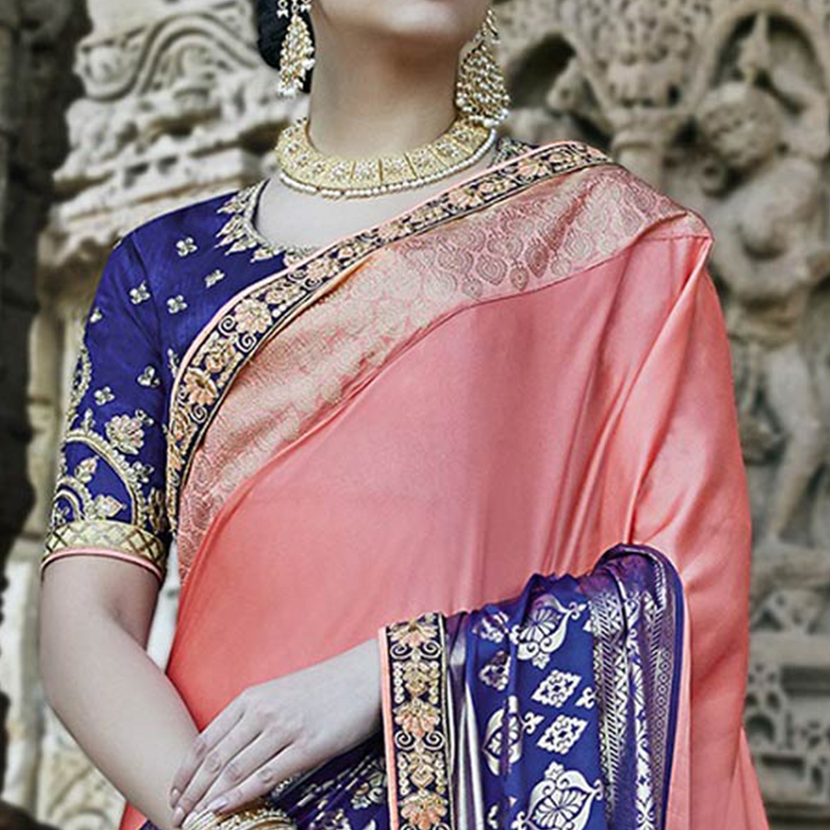 Alluring Pink - Blue Colored Heavy Embroidered Work Party Wear Silk Saree