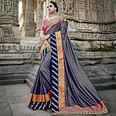 Adorable Blue Colored Heavy Embroidered Work Party Wear Silk Saree