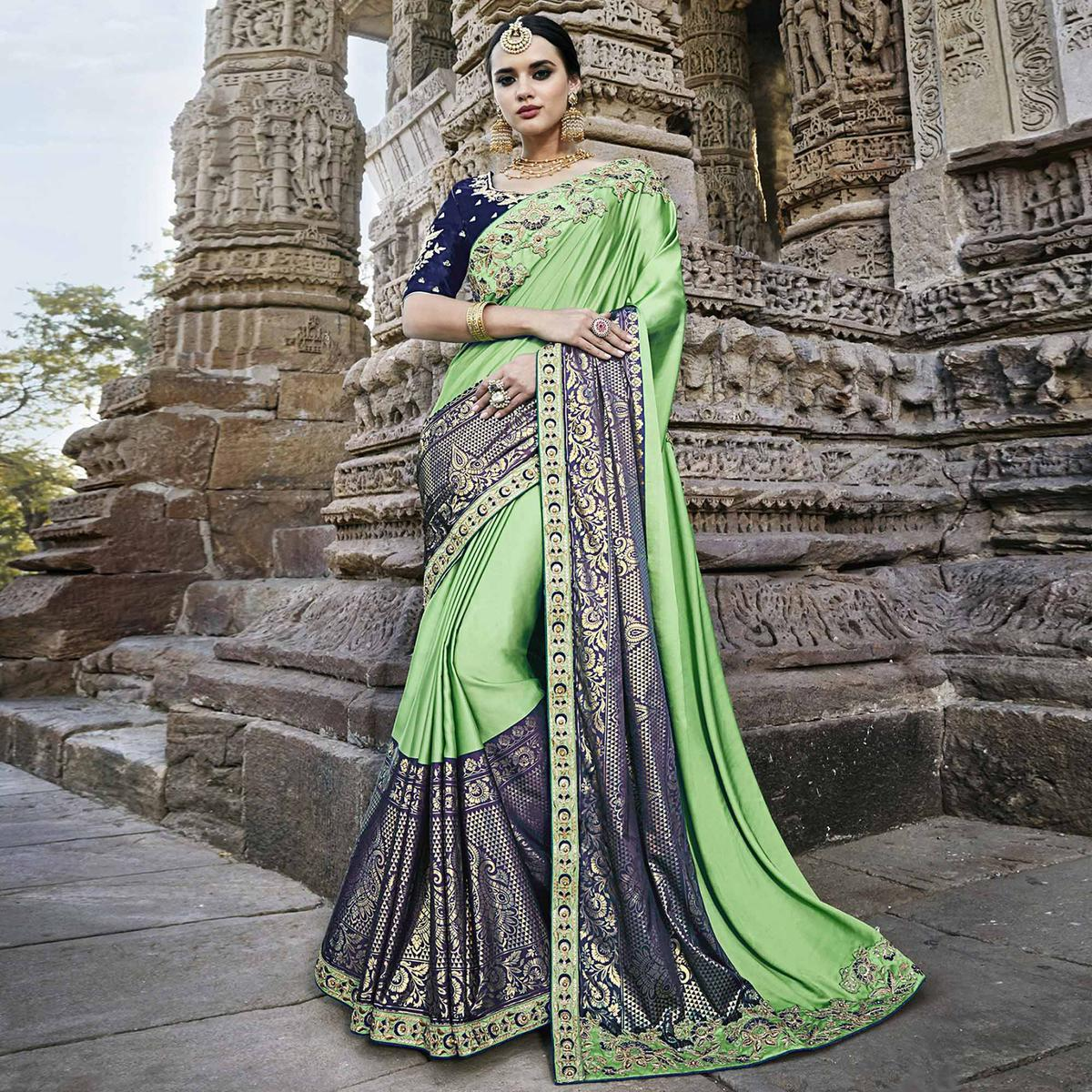 Attractive Green - Blue Colored Heavy Floral Embroidered Work Party Wear Silk Saree