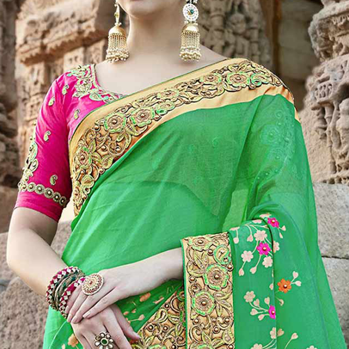 Ravishing Green Colored Heavy Floral Embroidered Work Party Wear Silk Saree