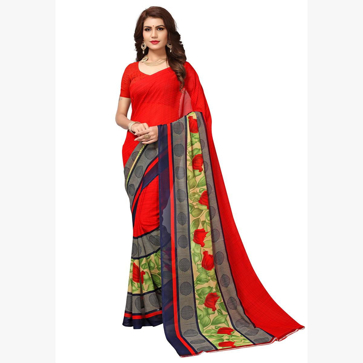 Attractive Red Colored Casual Printed Georgette Saree