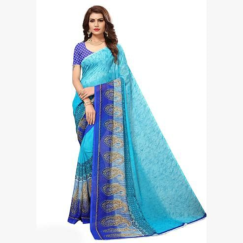 Beautiful Sky Blue Colored Casual Printed Georgette Saree