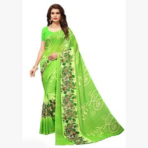 Gorgeous Light Green Colored Casual Printed Georgette Saree