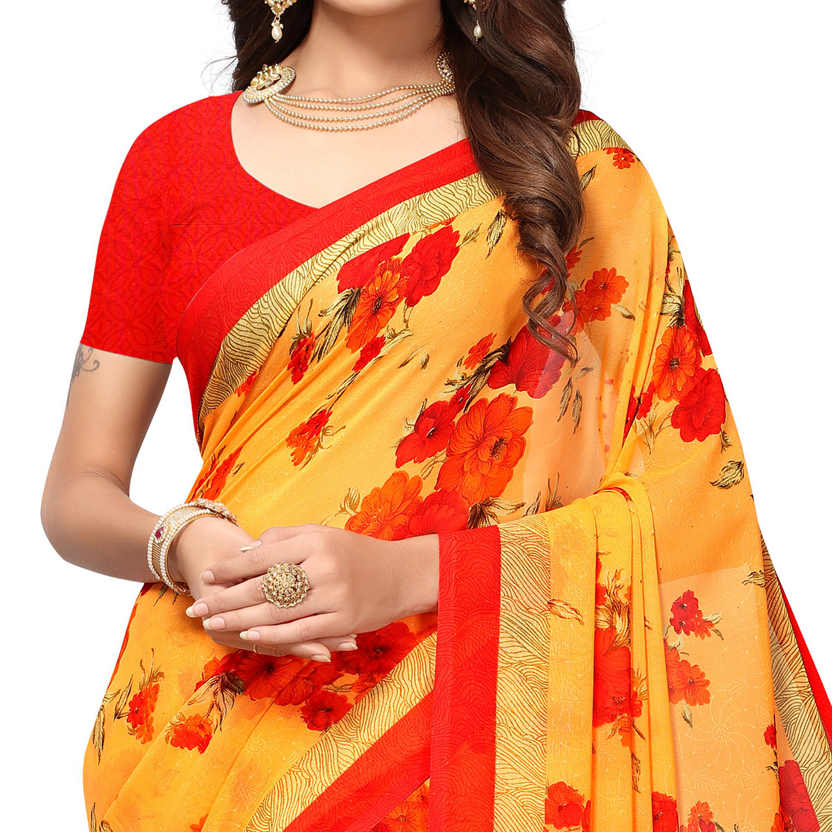 Classy Mustard Yellow Colored Casual Printed Georgette Saree