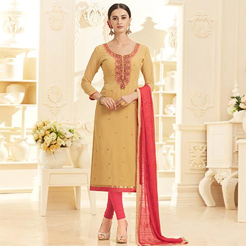 Elegant Beige Georgette Embroidered Partywear Dress Material