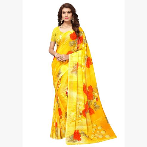 Graceful Yellow Colored Casual Printed Georgette Saree