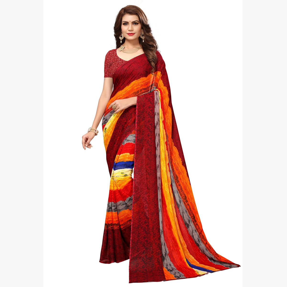 Pretty Multicolored Casual Printed Georgette Saree