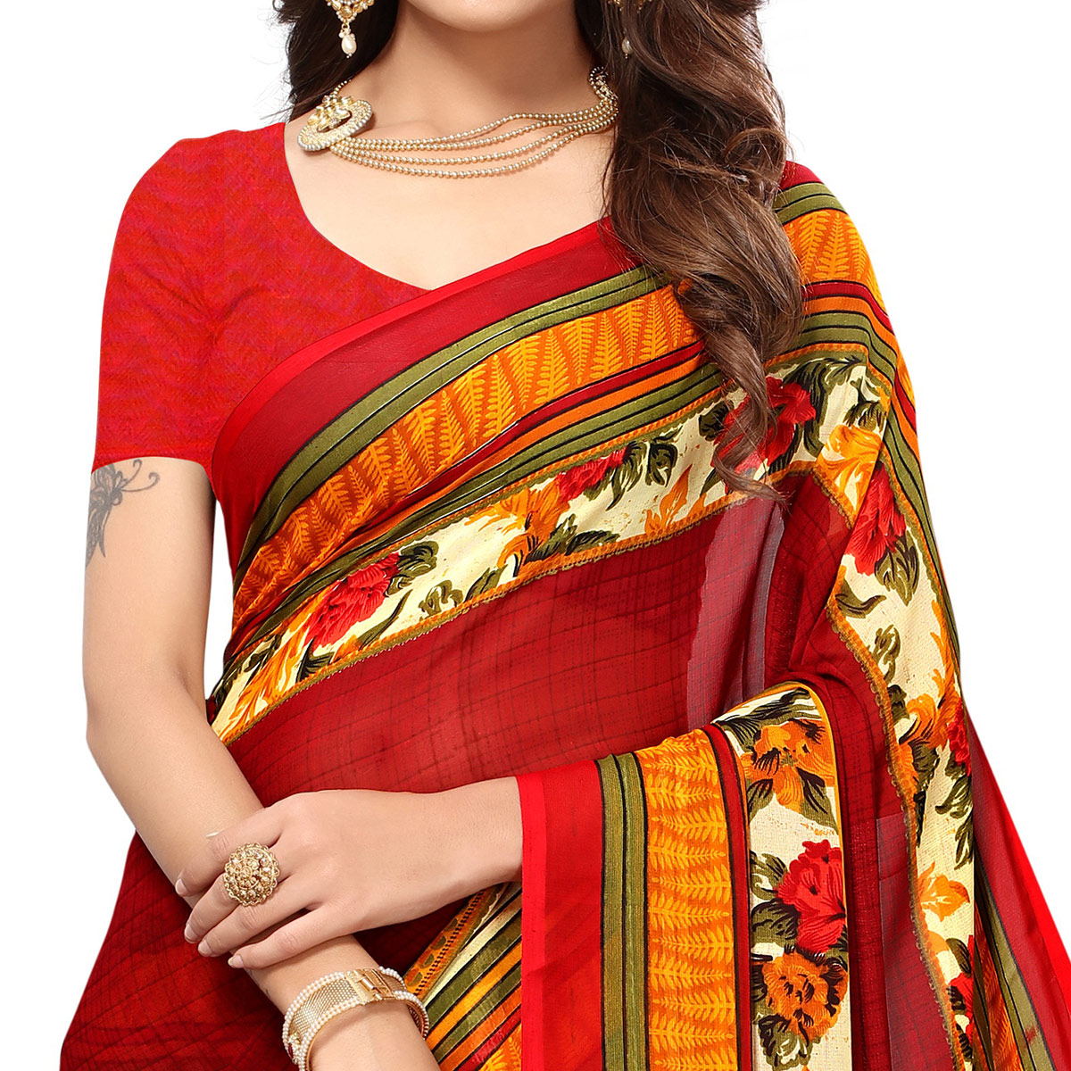 Charming Maroon Colored Casual Printed Georgette Saree