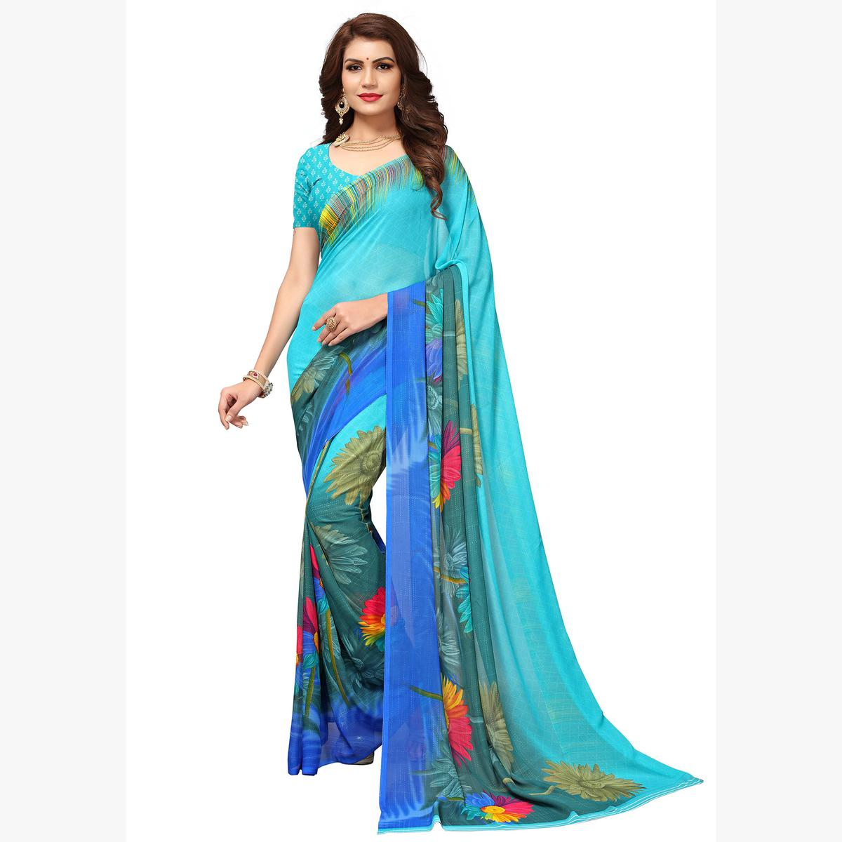 Ravishing Sky Blue Colored Casual Printed Georgette Saree