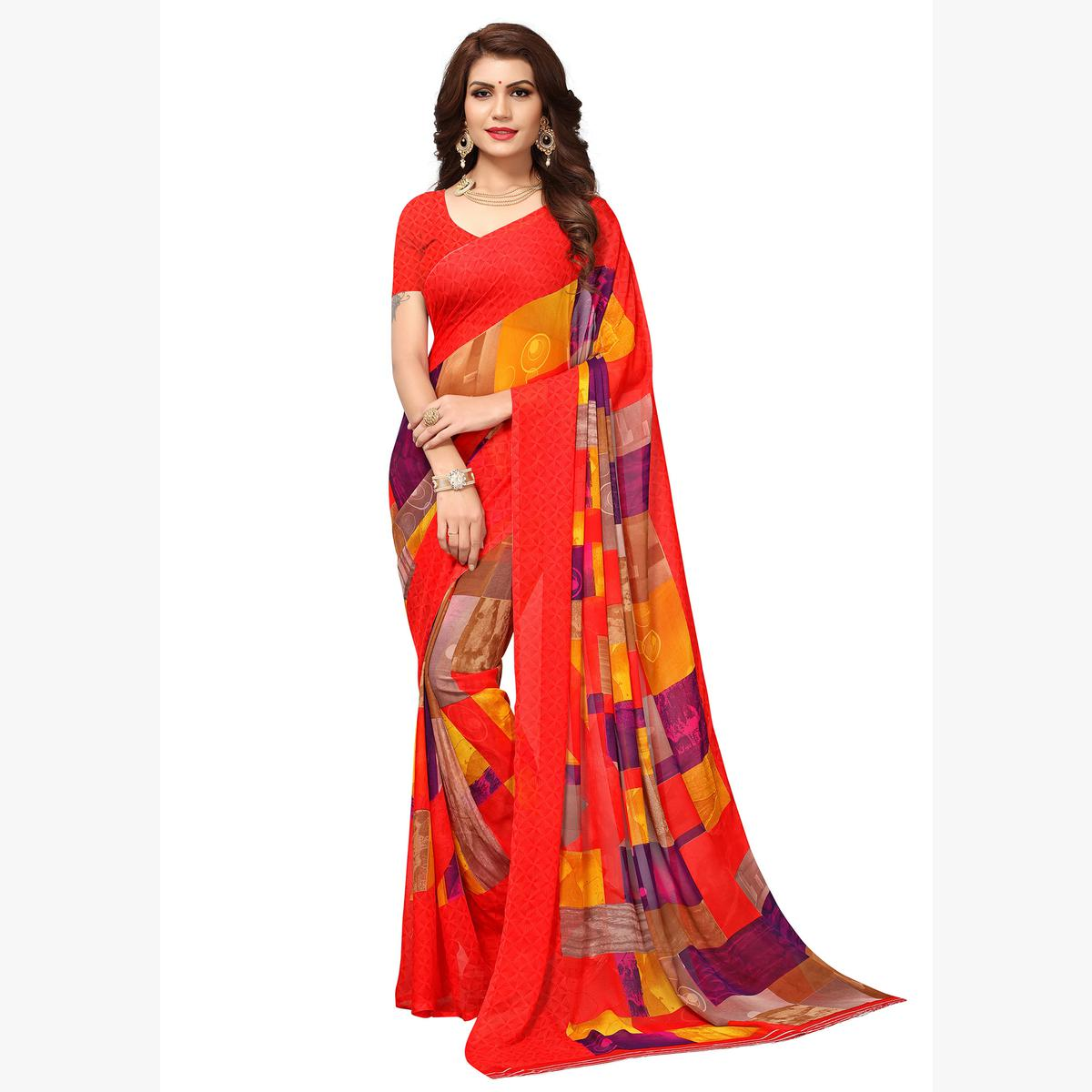 Stunning Multicolored Casual Printed Georgette Saree