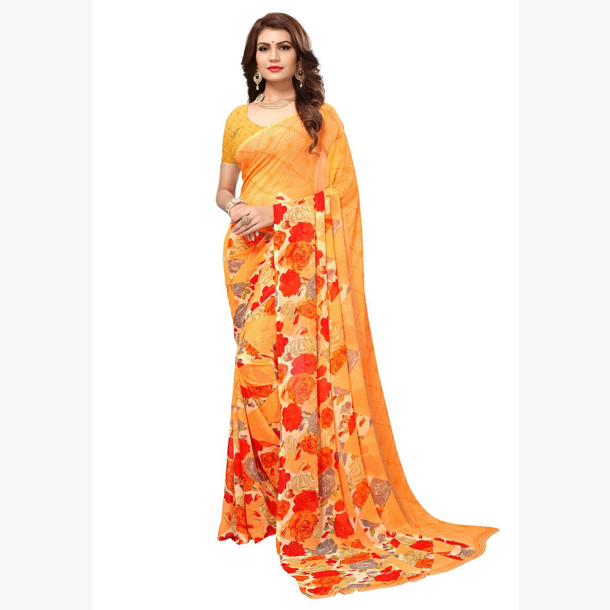 Blooming Pastel Orange Colored Casual Printed Georgette Saree