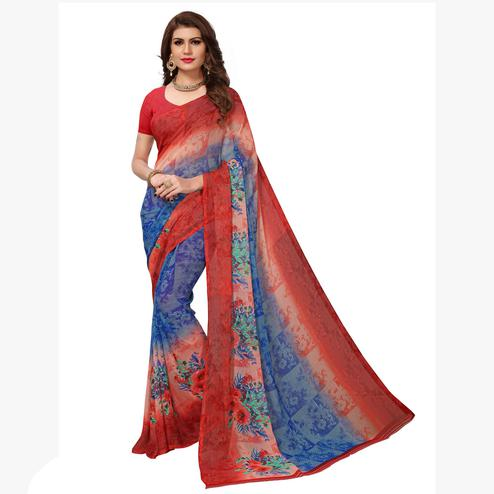 Marvellous Blue-Maroon Colored Casual Printed Georgette Saree