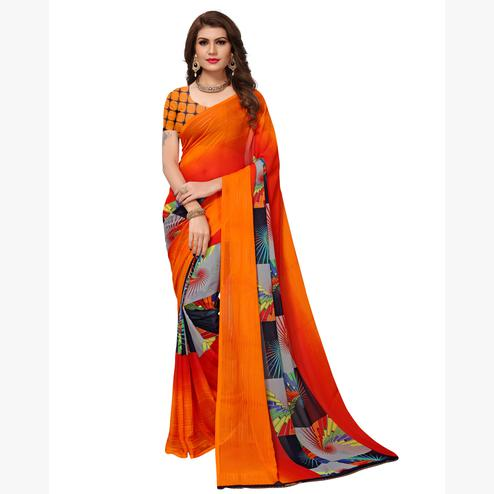 Mesmerising Multicolored Casual Printed Georgette Saree