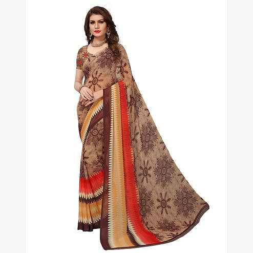 Ravishing Brown Colored Casual Printed Georgette Saree
